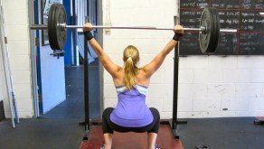 Jenn during today's lift, overhead squat