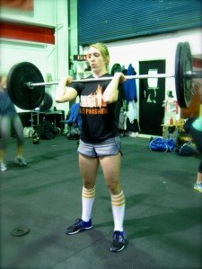 Steph during today's wod - power cleans